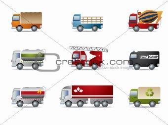 Truck icon set on white