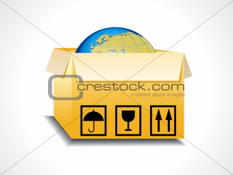 abstract box icon with globe