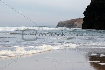 ballybunion golden beach cliffs and foamy tide