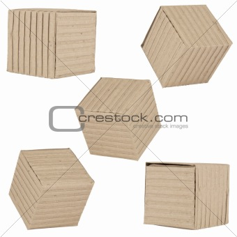 five packages made of corrugated cardboard