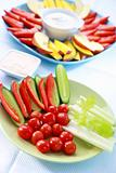 Raw vegetable and fruits with dip