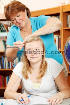 Fixing Daughter's Hair