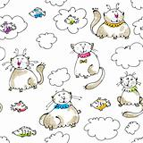 Dreaming cats seamless pattern