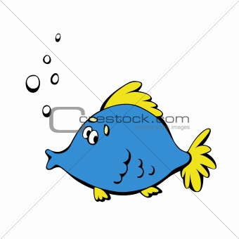 Cartoon blue fish