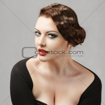 Young woman with retro hairstyle