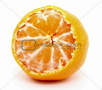 A juicy tangerine on white background