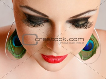 Young woman with make-up close-up portrait
