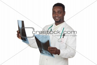 African american doctor with radiography