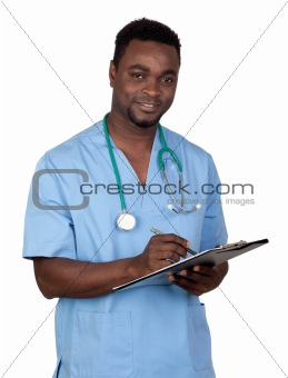 African american man doctor with clipbaord