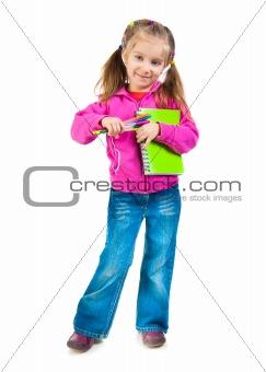 Cute schoolgirl with notebook