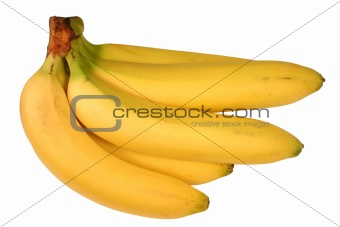 A bunch of bananas isolated on a white background.