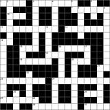 A blank symmetrical crossword puzzle.