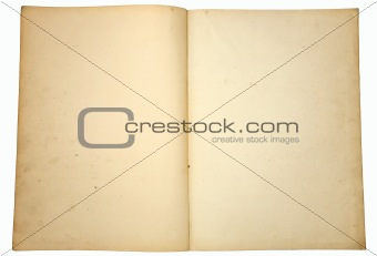 Blank yellowing paper pages from a vintage book.