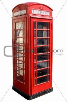Classic red British telephone box.