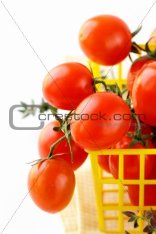 Tomatoes Cherry fresh ripe on the white background