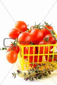 Tomatoes Cherry fresh ripe on the white background
