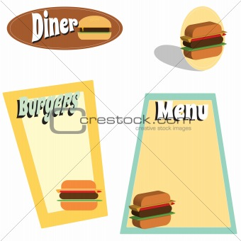 retro diner and burger graphics