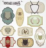 vintage labels with laurel wreaths and shields
