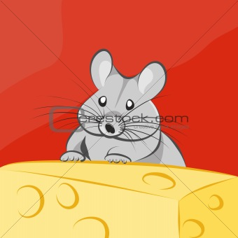 Gray cartoon mouse and cheese