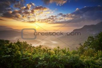 Sunrise Blue Ridge Mountains Scenic Overlook Nantahala Forest Highlands NC