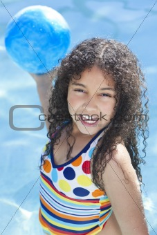 African American Interracial Girl Child Playing In Swimming Pool