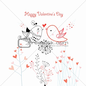 Greeting card with birdies lovers