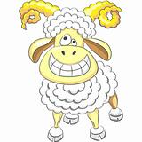 Vector cartoon happy funny ram