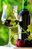 Glass and bottle of red wine with red fruits