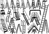 Ladder silhouettes on white background