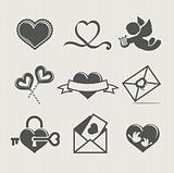 saint valentine's day set icon