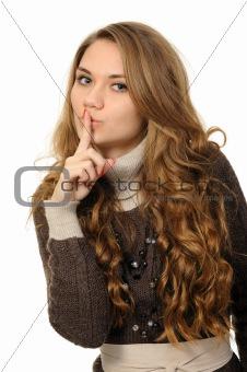 woman says ssshhh