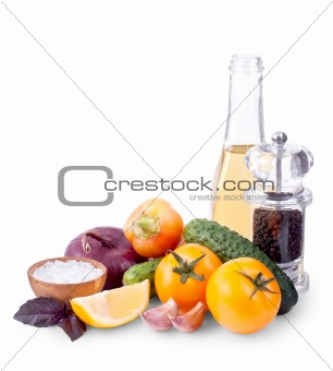 Still life of different ingredients for salad isolated on white