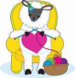 Sheep Knitting Heart