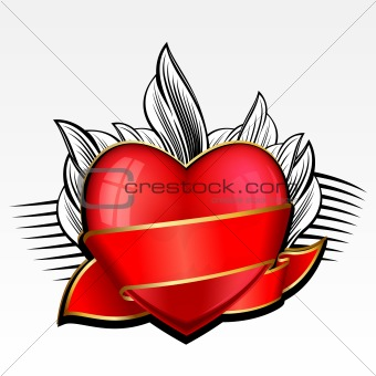 Valentine day heart with red ribbon and leaves on background