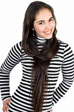 Playful pretty girl in striped blouse. Isolated