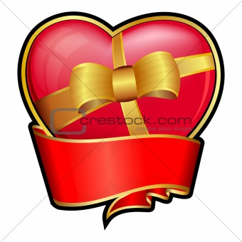 Valentine day heart with red ribbon and bow
