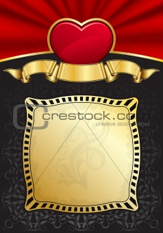 Valentine`s Day background with heart and frame