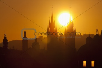 czech republic, prague - spires of the old town and tyn church at sunrise