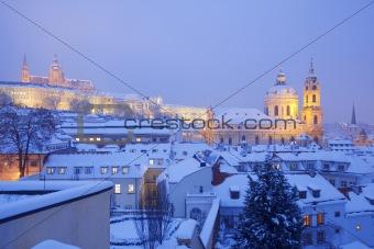 prague - hradcany castle and rooftops of mala strana in winter