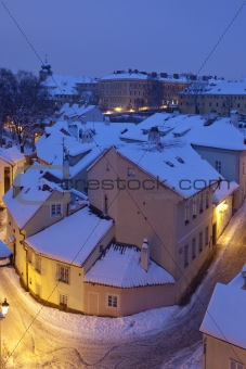 new world - picturesque quarters near hradcany castle at dusk