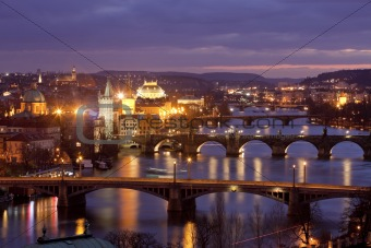 czech republic, prague - bridges over vltava river at morning light
