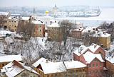 January winter view of Strelka Nizhny Novgorod Russia