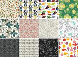 set of different flowers seamless pattern