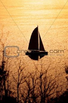 Catamaran on sunset
