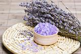 Aromatic bath salt and dry lavender flowers