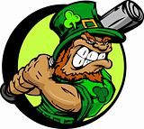 St. Patricks Day Leprechaun Holding Baseball Bat