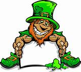 Smiling St. Patricks Day Leprechaun Holding Sign