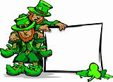 St. Patricks Day Leprechauns Holding Sign