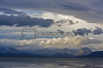 cloudy sky over scottish mountains