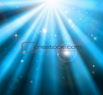 Bright blue light rays background